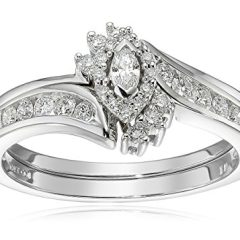 10k White Gold Marquise and Round Diamond Bypass Ring with Interlocking Band Bridal Set (0.33 cttw I-J Color, I2 Clarity)