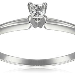14k White Gold Princess-Cut Solitaire Engagement Ring (1/10 carat, I-J Color, I1-I2 Clarity), Size 6