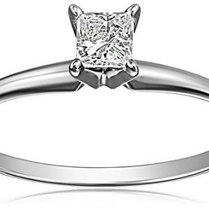 14k White Gold Princess-Cut Solitaire Engagement Ring (1/4 carat, I-J Color, I1-I2 Clarity)