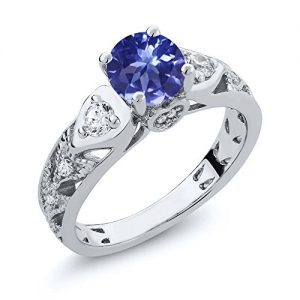 2.16 Ct Round Blue Tanzanite AAAA 925 Sterling Silver Engagement Ring