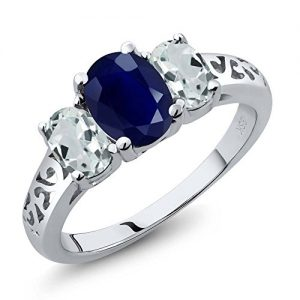 2.65 Ct Oval Blue Sapphire and Sky Blue Aquamarine 925 Sterling Silver Women's 3-Stone Engagement Ladies Ring (Available in size 5, 6, 7, 8, 9)