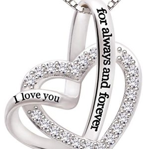 """ALOV Jewelry Sterling Silver """"I love you for always and forever"""" Love Heart Cubic Zirconia Necklace"""