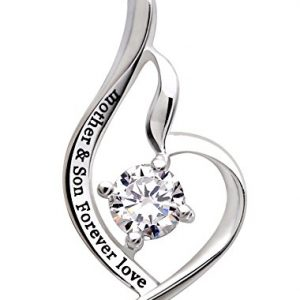 """ALOV Jewelry Sterling Silver """"mother & son forever love"""" Pendant Necklace"""