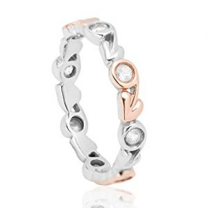 Clogau 925 Sterling Silver and 10k Rose Gold White Topaz Tree of Life Ring, Size 7