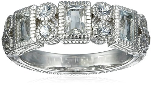 """Judith Ripka """"Estate"""" Sterling Silver Vertical Baguette Ring with White Topaz and Saphhires"""