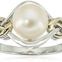 Love Knot Sterling Silver and 14k Yellow Gold 8mm Freshwater Cultured Pearl and Diamond Ring