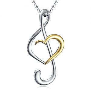 (Musical Note Necklace Pendant) 925 Sterling Silver Jewelry For Women, Box Chain 18″