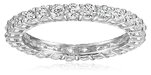 Platinum-Plated Sterling Silver Round Cut Cubic Zirconia Stacking Ring