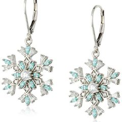 Platinum-Plated Sterling Silver and Swarovski Zirconia Snowflake Leverback Earrings