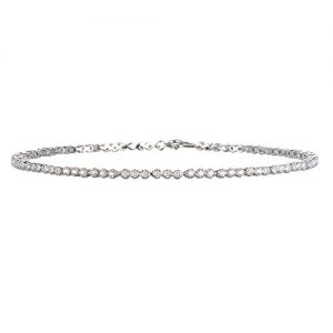 Rhodium Plated Silver White Cz Line Anklet-10″