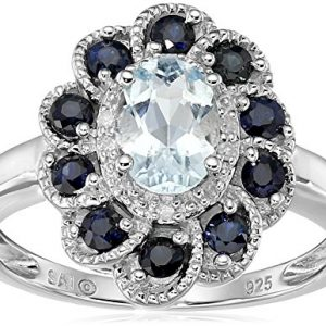 Sterling Silver Aquamarine, Blue Sapphire, and Diamond Flower Ring