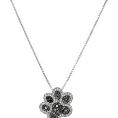 Sterling Silver Black and White Diamond Dog Paw Pendant Necklace (1/10 cttw), 18″
