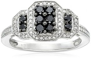 Sterling Silver Black and White Diamond Ring (1/2 cttw, I-J Color, I3 Clarity)