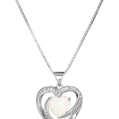 Sterling Silver, Created Opal, and Created White Sapphire Heart Pendant Necklace, 18″