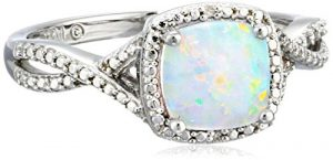 Sterling Silver, Created Opal, and Diamond Ring, Size 7