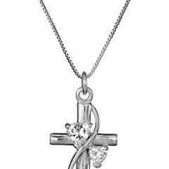 """Sterling Silver Cubic Zirconia """"Faith Hope Love"""" Cross Pendant Necklace, 18″"""