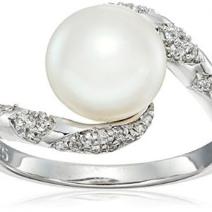 Sterling Silver Freshwater Pearl and White Topaz Swirl Ring, Size 7
