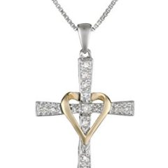 Sterling Silver and 14k Yellow Gold Diamond Cross and Heart Pendant Necklace, 18″