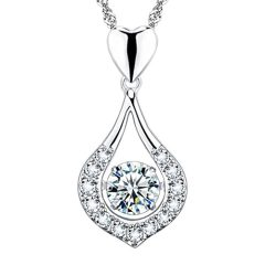 """""""You Are The One"""" Designer Jewelry Twinkling Heart Collection Sterling Silver Pendant Necklace"""