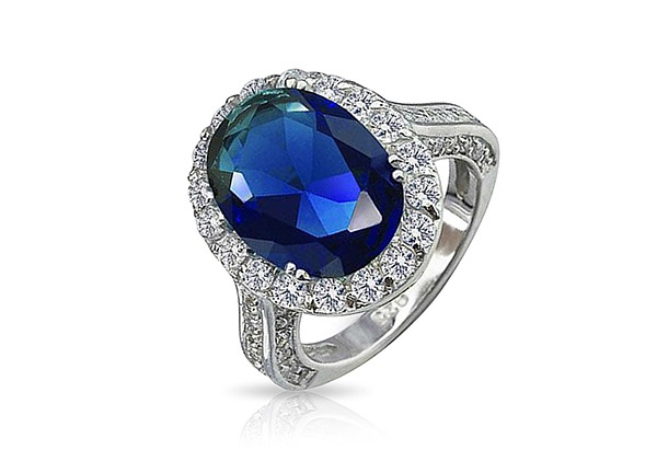 Vintage Style Oval Royal Blue Engagement Ring-SB