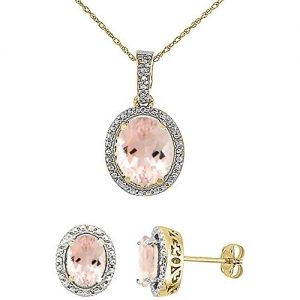 Silver City Jewelry 10K Yellow Gold 0.1 cttw Diamond Natural Morganite Oval 7x5mm Earrings & 10x8mm Pendant Set