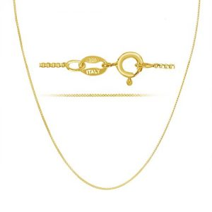 KEZEF 18k Gold Over Sterling Silver 1mm Box Chain Necklace Made in Italy 14 Inch