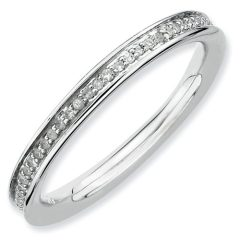 Stackable Expressions 2.25mm Rhodium Plated Sterling Silver Diamond Eternity Ring