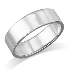 MIMI 6MM Sterling Silver Plain Flat Wedding Band Ring Size 5, 6, 7, 8, 9, 10, 11, 12