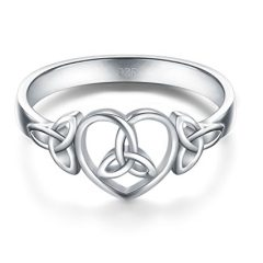 BORUO 925 Sterling Silver Ring Celtic Knot Heart High Polish Tarnish Resistant Eternity Wedding Band Stackable Ring…