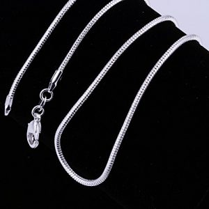Goldenchen 5 Pieces 925 Sterling Silver Plated 2mm Snake Chain Necklace Jewelry (18 Inch)