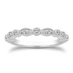 espere Milgrain Marquise & Round Cubic Zirconia Half Eternity Ring Stacking Infinity Wedding Band Sterling Silver 925…