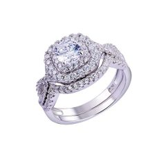 Newshe Wedding Band Engagement Ring Set for Women 925 Sterling Silver 1.8Ct Round White AAAAA Cz Size 3-13