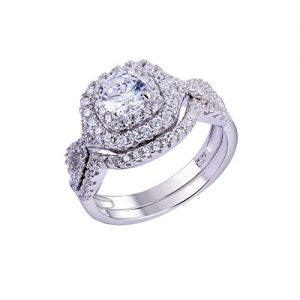 Newshe Wedding Band Engagement Ring Set for Women 925 Sterling Silver 1.8Ct Round White AAAAA Cz Size 4-13