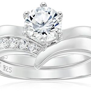 Platinum Plated 925 Sterling Silver AAA Cubic Zirconia Round Solitaire Ring with Chevron Band Ring Set