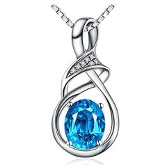 HXZZ Fine Jewelry Gifts for Women Natural Gemstone Swiss Blue Topaz Amethyst Citrine Sterling Silver Pendant Necklace