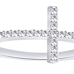 AFFY White Natural Diamond Sideways Cross Ring in 10k Solid Gold (0.2 Cttw)