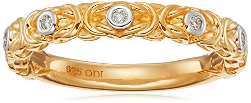 Yellow Gold Plated Sterling Silver Diamond Accent Byzantine Ring