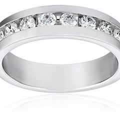 Men's 10k White Gold and Diamond Channel Wedding Band (1 cttw, H-I Color, I1-I2 Clarity)