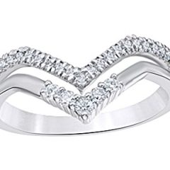 AFFY Round Cut White Natural Diamond Double Chevron Ring in 10k Solid Gold (0.25 Ct)