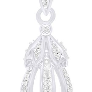 AFFY Round Cut White Natural Diamond Teardrop Pendant Necklace in 14k Solid Gold