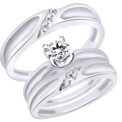 Jewel Zone US White Natural Diamond Engagement & Wedding Trio Band Ring Set in 10k Solid Gold (0.22 Cttw)