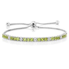 Gem Stone King 925 Sterling Silver Green Peridot and White Diamond Adjustable Tennis Bracelet Jewelry For Women's 2.05…