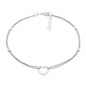 Beaux Bijoux Sterling Silver Italian 9″ + 1″ Extension Double Strand Heart and Beads Anklet
