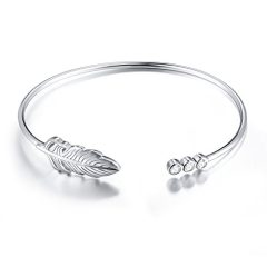 SILVER MOUNTAIN Sterling Silver Peacock Feather Necklace Bangle Inspirational Gift for Her, Women, Friendship (Feather…