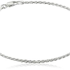 Sterling Silver Diamond Cut Rope Anklet