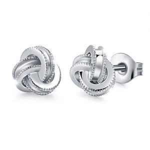 Gold Plated Sterling Silver Studs Love Knot Earrings For Women | Hypoallergenic & Nickle Free Jewelry for Sensitive Ears