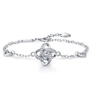 """Christmas Gift Bracelet for women -925 sterling silver Four Leaf Clover Bracelet for women wish """"GOOD LUCK"""" with Inspirational Quote Card Perfect Gift for Her"""