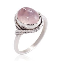 Women's 925 Sterling Silver Rose Quartz Oval Gemstone Vintage Ring, Available in Sizes 6-8