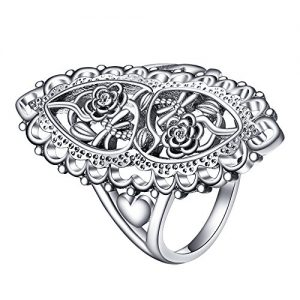 Angemiel Jewelry 925 Sterling Silver Ring Openwork Flowers and Dragonfly Victorian Style Filigree Rings