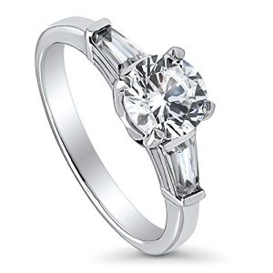 BERRICLE Rhodium Plated Sterling Silver Round Cubic Zirconia CZ 3-Stone Anniversary Promise Wedding Engagement Ring 1.5…